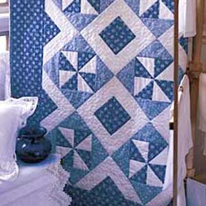 Blue Breeze: FREE Classic Blue and White Quilt Lap Quilt Pattern