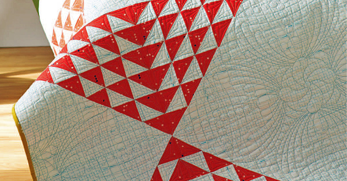 Flying Geese Design with Poinsettia Backing \u2013 QUILTED TABLE RUNNER \u2013 Christmas Colors