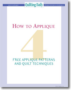 Download your free quilt designs for creating applique quilts.