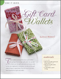 Free Quilt Projects 5: Gift Card Wallets