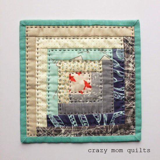 Log Cabin Mini by Crazy Mom Quilts is an example of a quilt that uses the technique big stitch quilting