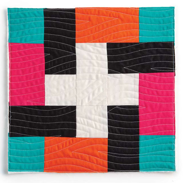 Example of walking foot quilted curves by Catherine Redford.