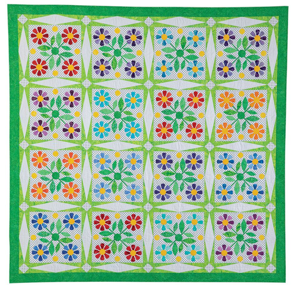 """""""Flower Crown"""" by Nancy Mahoney • Appeared in Quiltmaker March/April 2019"""