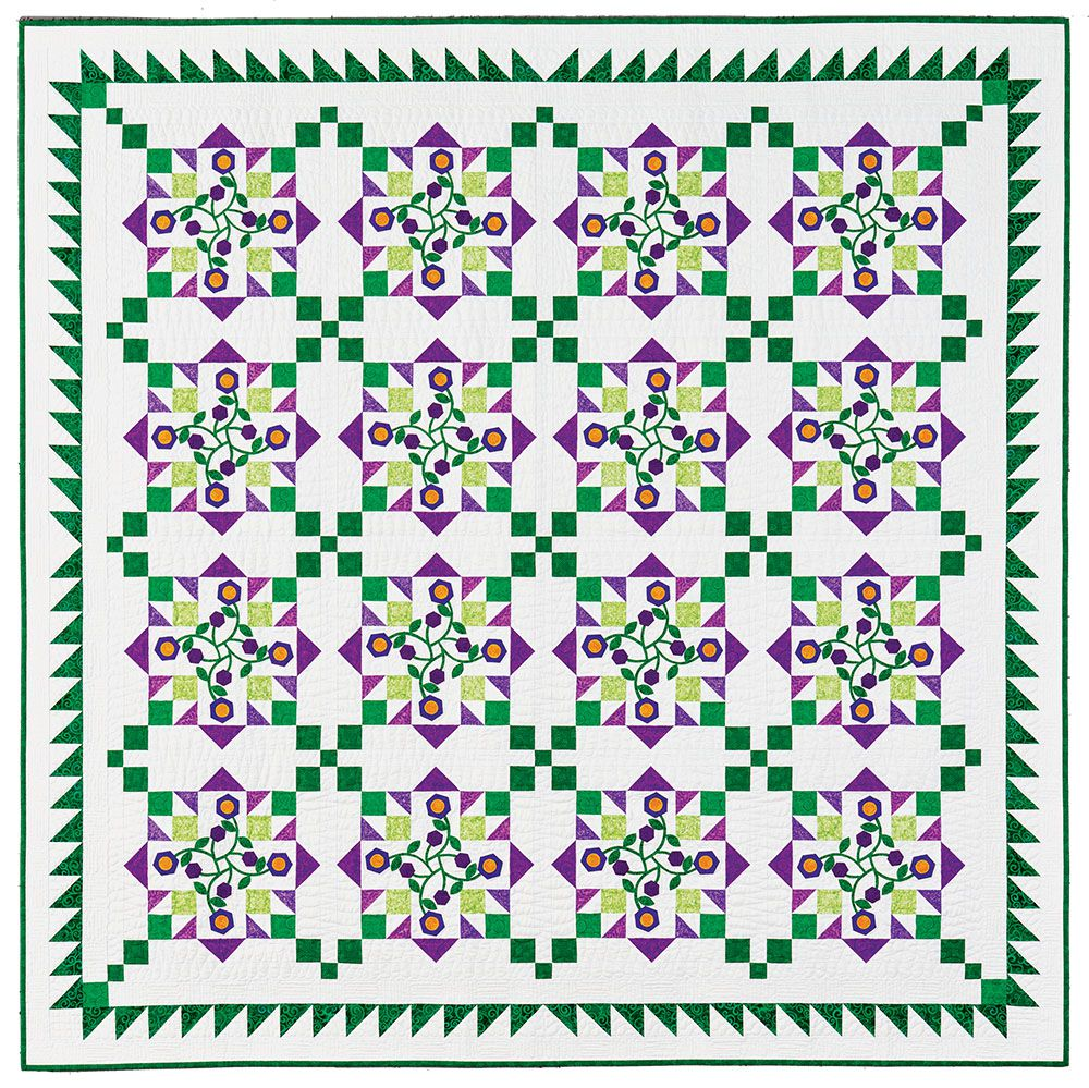 """""""Morning Glory"""" by Nancy Mahoney • Appeared in Love of Quilting March/April 2018"""