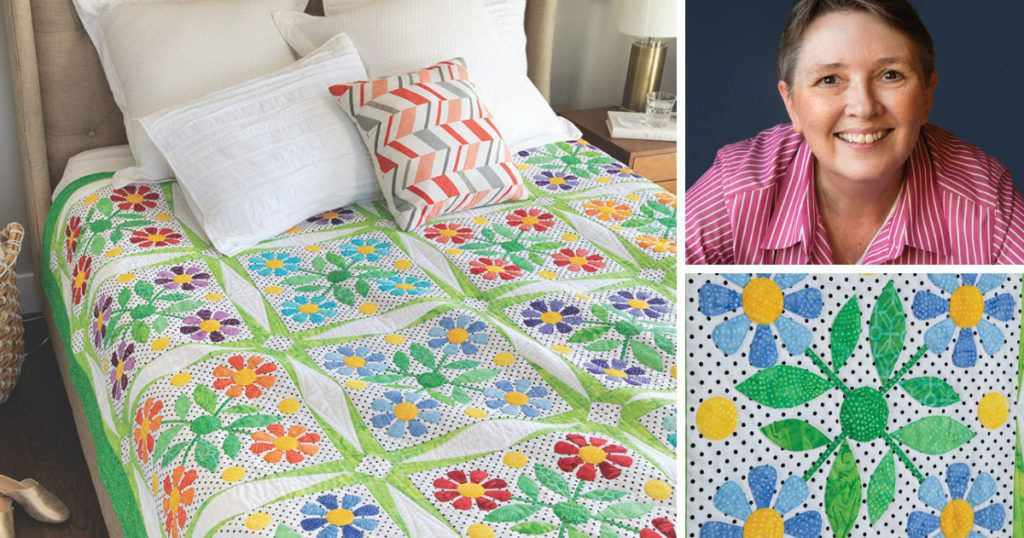 Nancy Mahoney along with two of her quilts