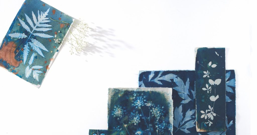 Wet cyanotype fabric by Lesley Riley