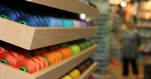 Threads for sale at quilt market