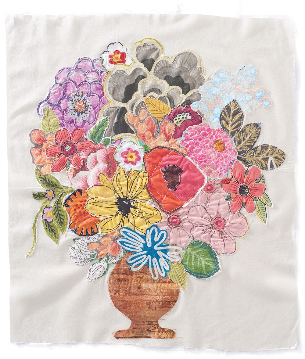 Sew down the flowers and elements in a causal manner