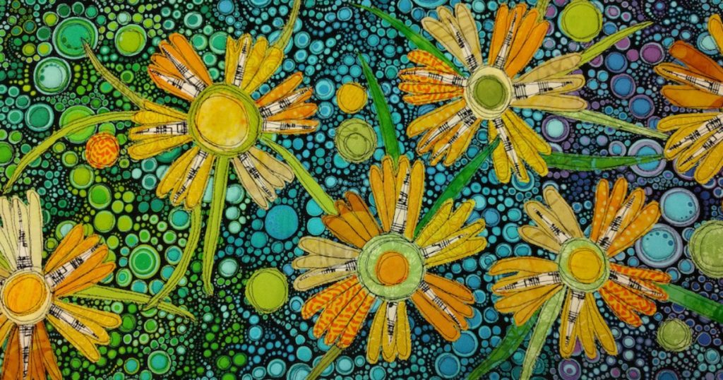 Fabric collage by Susan Brubaker Knapp