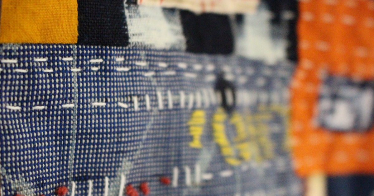 Close up of the hand stitching on market tote