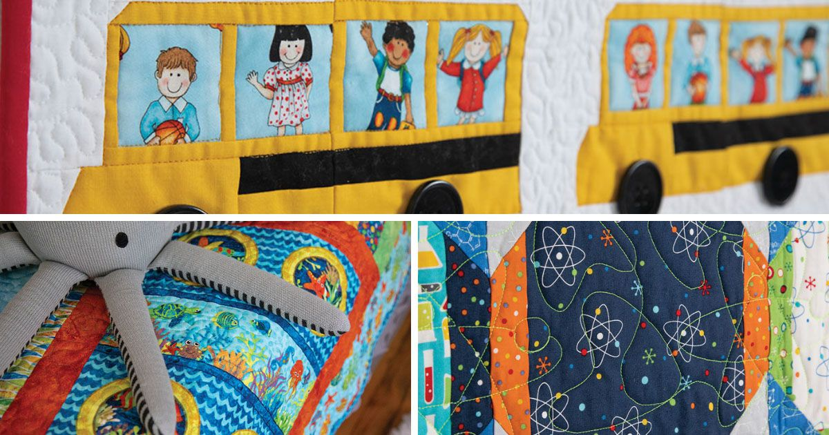 A few quilts perfect for back to school from the August/September 2019 issue of Quick quilts