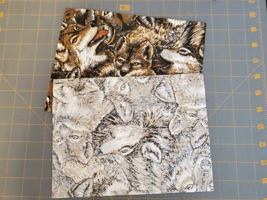 Adjustable Face Mask Step 3b - If using directional prints flip one of the pieces around so the pattern will be right side up on both sides
