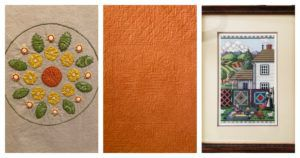 Three pieces examples of quilted handwork.