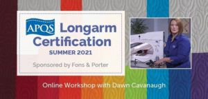 Title card image for the Summer 2021 APQS Longarm Certification course with freemotion quilting on colorful fabric