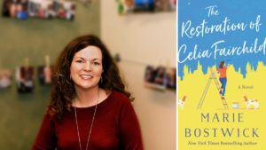 cover image for Quilt & Tell podcast with Marie Bostwick and the cover of her new book - The Restoration of Celia Fairchild