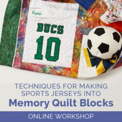 Marketing image for the Techniques for Making Sports Jerseys into Memory Quilt Blocks online workshop with an example of a basketball jersey quilt