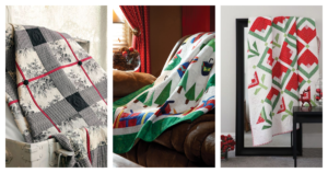Christmas quilt pattern roundup cover image featuring 3 of our top Christmas quilts draped around festive homes