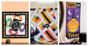 header image for Halloween pattern roundup part 1 featuring 3 of the quilts highlighted