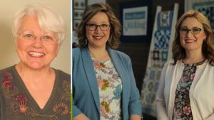 Quilt & Tell Podcast Episode 56 header - Marti Michell and the hosts of Love of Quilting TV