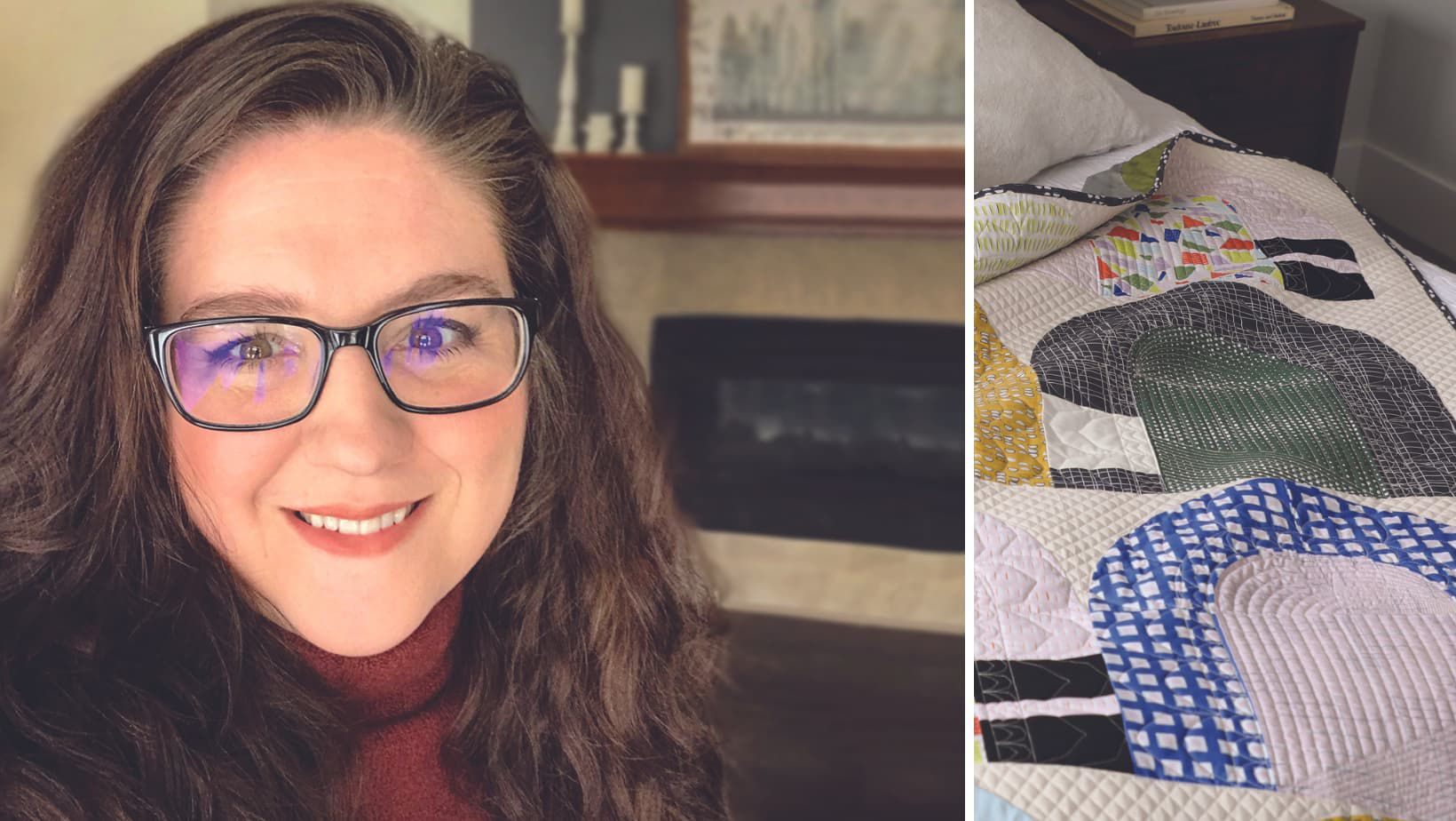 Quilt & Tell Podcast episode 57 featuring a headshot of Heather Black and her quilt Ingress Egress