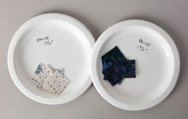 2 white paper plates holding different types of patches, with the plates labeled with what size patches it contains.