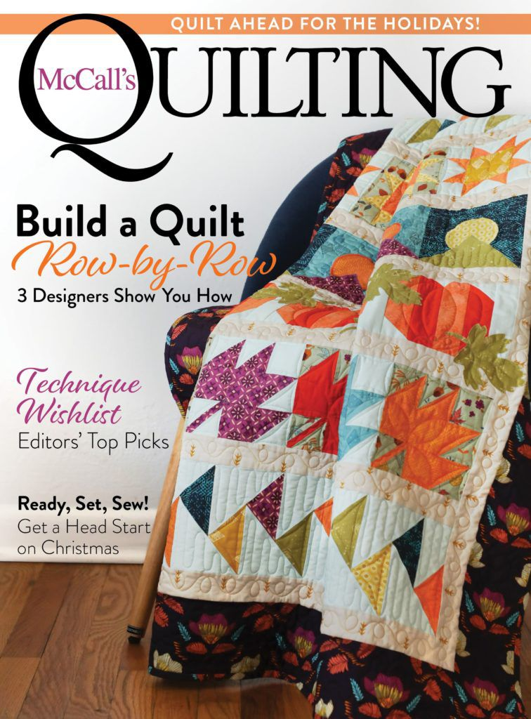 McCalls Quilting Sept/Oct issue cover featuring row quilt, September Song by Abigail Dolinger