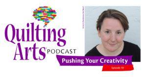 Quilting Arts Podcast episode 19 header featuring Mel Beach