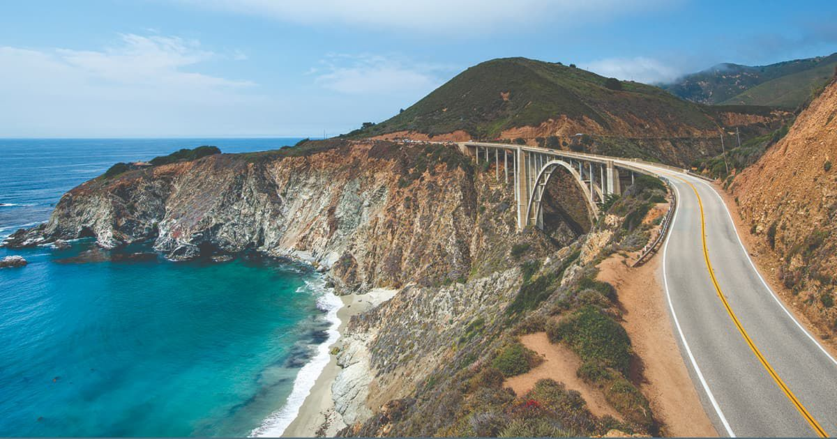 header for new travel near and far reader challenge - pic of the Pacific Coast Highway