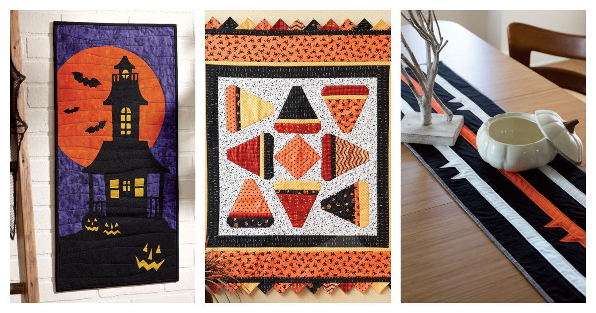 Halloween Quilting Roundup 2 header featuring Fright Night Wallhanging, Candy Corn Quilt, and Fang Table Topper