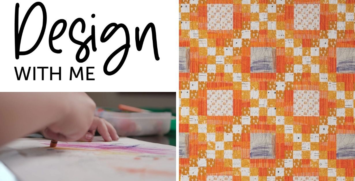 Design With Me promo header featuring Huck's quilt and Huck drawing his picture